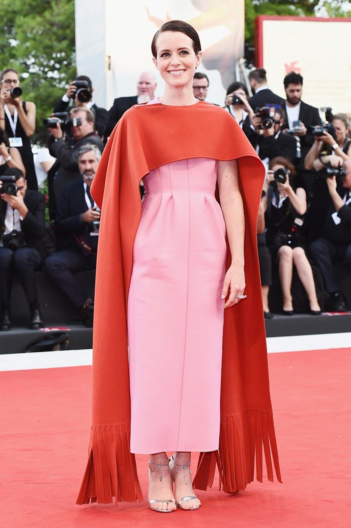 Wearing Valentino Haute Couture at the Venice Film Festival Premiere of *First Man*, August 2017