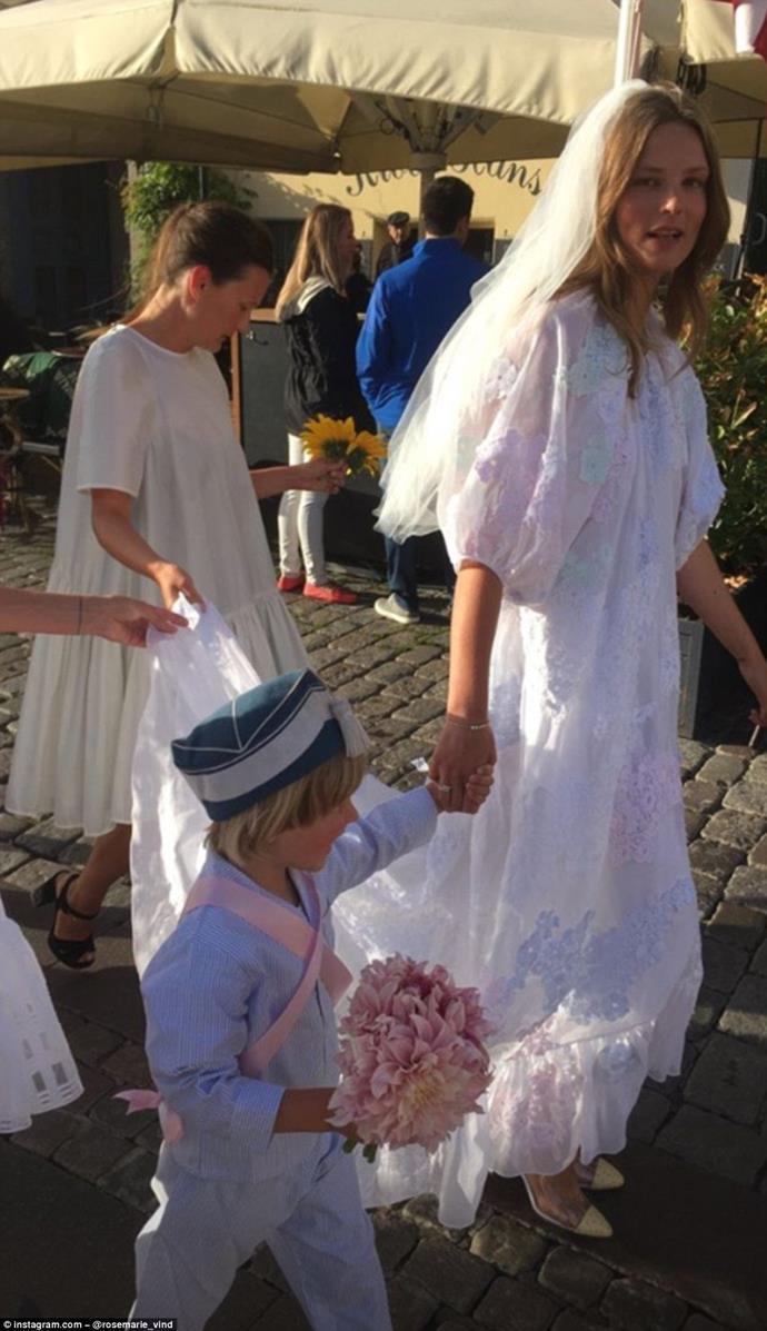 Caroline Brasch wore Cecilie Bahnsen to marry Frederik Bille Brahe in 2018.