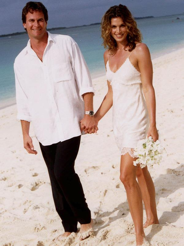 Cindy Crawford wore Galliano to marry Rande Gerber in 1998.