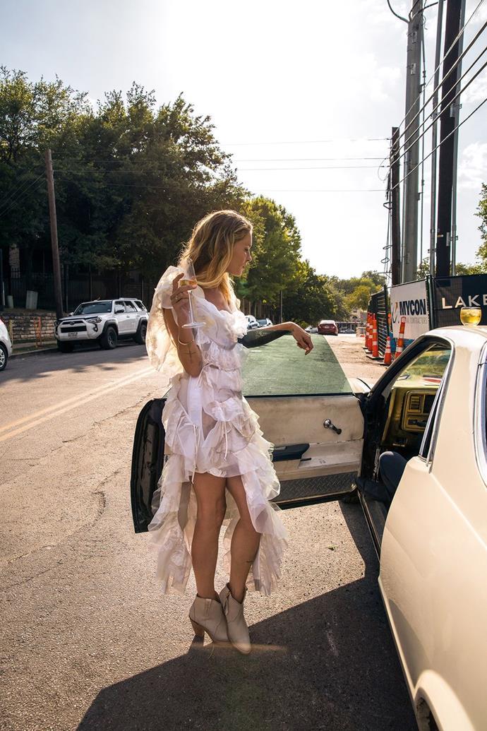Erin Wasson wore Vivienne Westwood to marry Barth Tassy in August 2018.