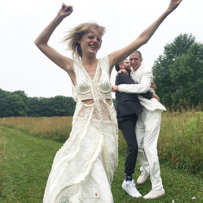 [Hanne Gaby Odiele wore Balenciaga by Alexander Wang to marry](https://www.harpersbazaar.com.au/bazaar-bride/hanne-gaby-odiele-wedding-balenciaga-alexander-wang-13229) John Swiatek in 2016.