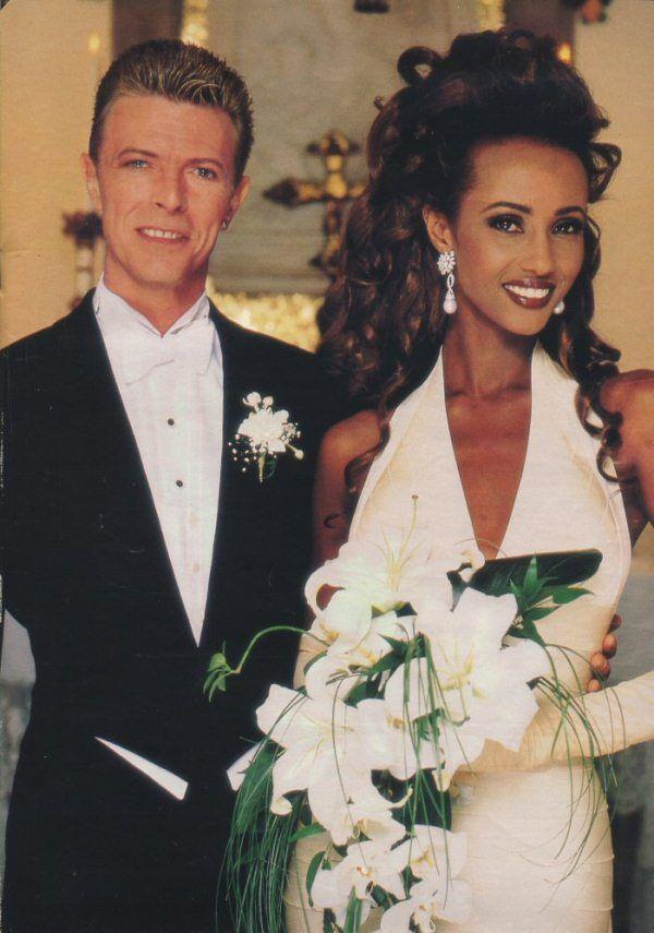 Iman wore Hervé Leger to marry David Bowie in 1992.