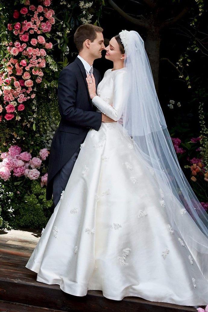 [Miranda Kerr wore Dior](https://www.harpersbazaar.com.au/bazaar-bride/miranda-kerr-wedding-dress-13799) by Maria Grazia Chiuri [to marry Evan Spiegel](https://www.harpersbazaar.com.au/celebrity/miranda-kerr-wedding-details-5624) in 2017.