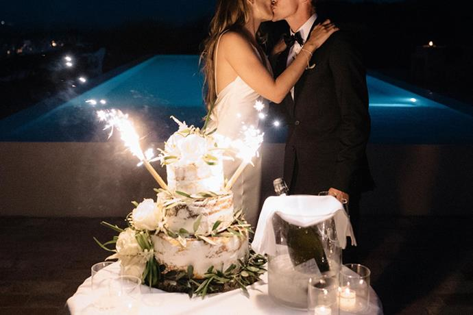 **On the cake: ** <br><br> For our engagement party in Noosa we ordered a Persian Love Cake, and decided that was the flavour we wanted for our wedding cake. It was a really unusual cake for the Italians but our chef did an amazing job–it was incredible. We gave him a few pictures we'd found of the look of the cake to and let him surprise us on the night.