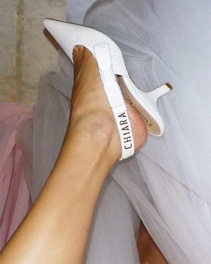 The bride's custom Dior shoes