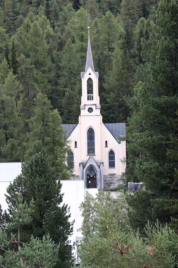 The ceremony was held at French church, Eglise au Bois, in St Moritz, Switzerland.