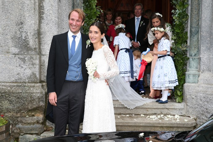 Prince Konstantin of Bavaria and Deniz Kaya leaving the church after the ceremony