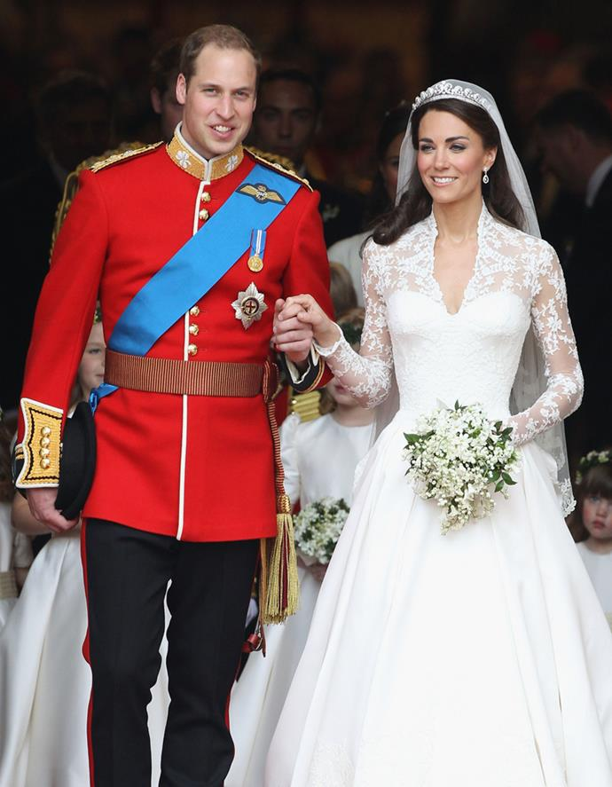 William, The Duke of Cambridge (Prince William) and Catherine, The Duchess of Cambridge (Kate Middleton) leaving Westminster Abbey on their wedding day, April 29th, 2011.