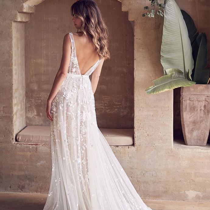 "<strong>Anna Campbell</strong> <br><br> The newer label on the block, Anna Campbell is quickly becoming a cult favourite. <br><br> Instagram: <a href=""https://www.instagram.com/annacampbellbridal/"">@annacampbellbridal</a>"