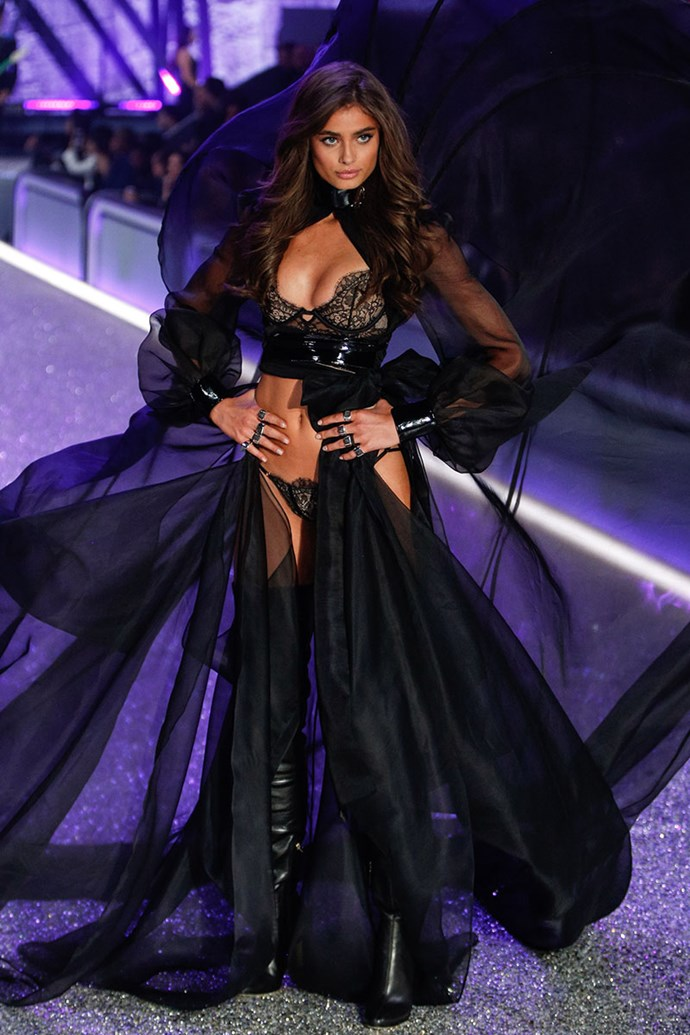 ***Taylor Hill*** <br> Hill received Angel status in 2015, and has since fronted global campaigns for Victoria's Secret and PINK. Considering her acclaim and success for VS, she'll likely receive the Fantasy Bra in the coming years—if not in 2018.