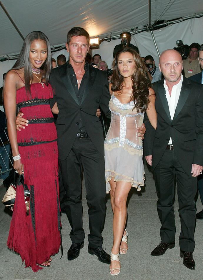 With Naomi Campbell, Stefano Gabbana and Domenico Dolce at the Met Gala, 2003