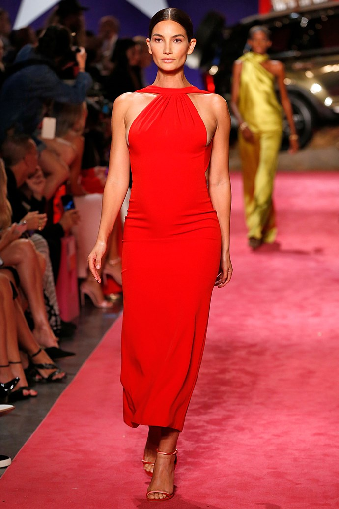 "***Lily Aldridge*** <br><br> The model, who recently announced her pregnancy on Instagram in the sweetest way, walked Brandon Maxwell Spring 2019 show at New York Fashion Week while five-months pregnant in a red, fitted gown. <br><br> The model shared her excitement for the moment, [posting a photo](https://instagram.com/p/BngYgTcDWUh/?utm_source=ig_embed|target=""_blank""