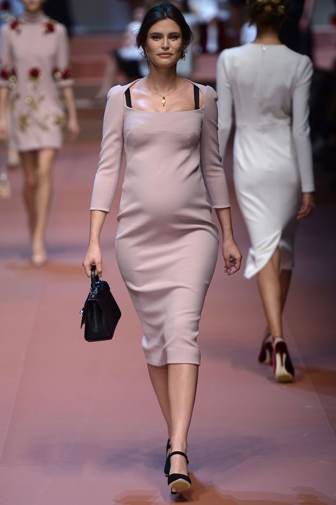 ***Bianca Balti*** <br><br> The Italian actress put her baby bump on full display while walking at Dolce & Gabbana's AW15/16 show during Milan Fashion Week back in 2015. With the theme of the show being a tribute to mothers, Balti joined many other model mothers who walked the runway with their own young children in tow.