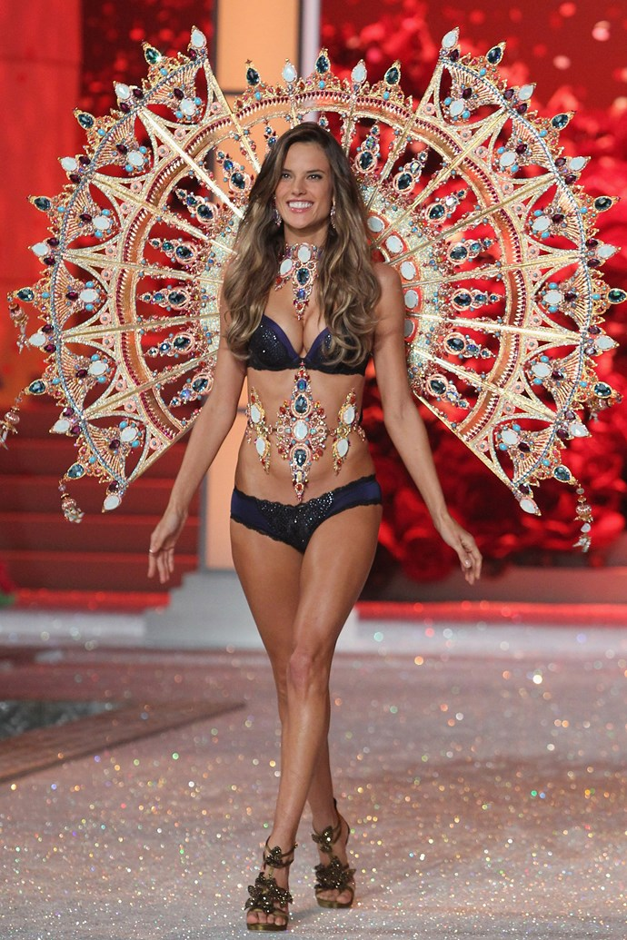 ***Alessandra Ambrosio*** <br><br> In late December, the Brazilian model also appeared on the 2011 Victoria's Secret Fashion Show runway in her early stages of pregnancy, cleverly disguising her bump with ornate jewelled accessories and a tummy-tucking tulle tutu.