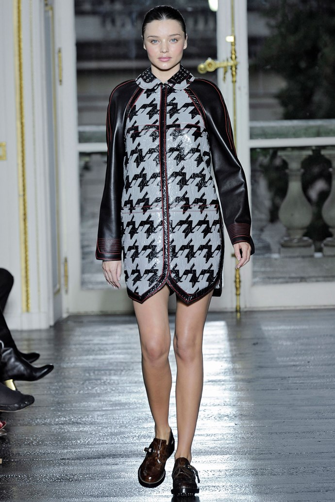 ***Miranda Kerr*** <br><br> While five-months pregnant, Kerr walked the Balenciaga Spring 2011 runway while expecting her first child, Flynn. Wearing a leather houndstooth-printed mini, the models long, toned legs served as the perfect distraction from her baby bump.