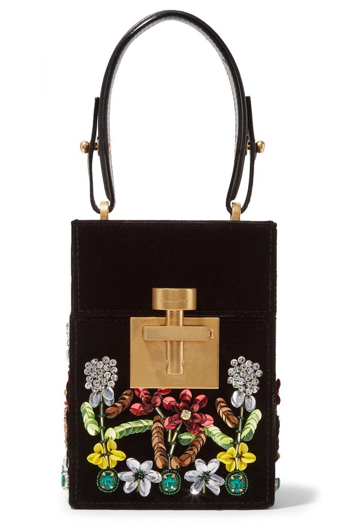 """Go for the flower-bomb effect and work this breathtaking clutch with race-day florals. With intricate detailing, the bag features paillettes, beads and crystal-embellished blooms, with an adjustable strap. <br><br> Oscar de la Renta, $3,668.93 at [Net-a-Porter](https://www.net-a-porter.com/au/en/product/1079601/Oscar_de_la_Renta/alibi-mini-embellished-velvet-clutch