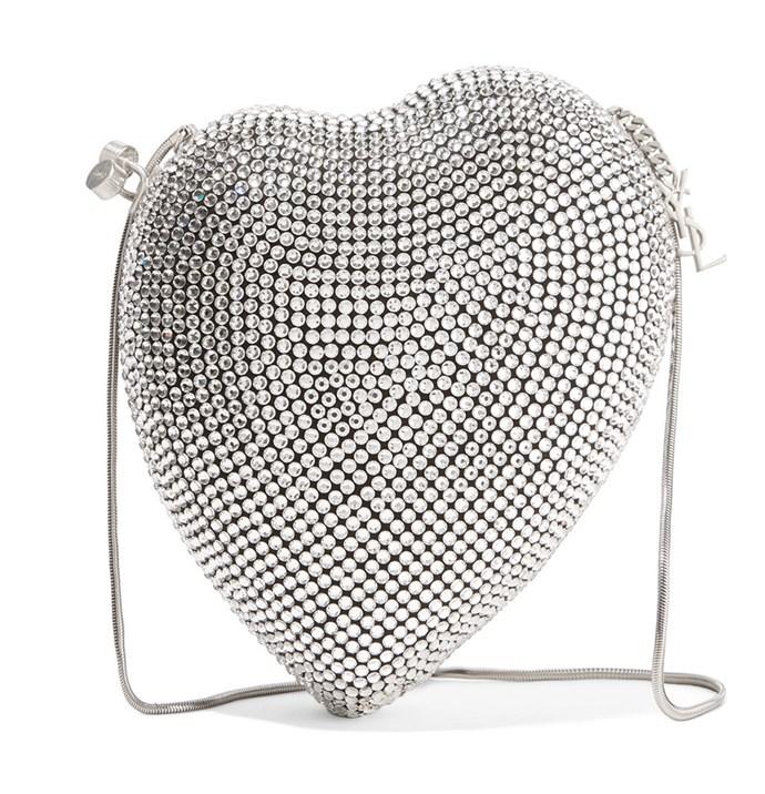 "Up-the-ante on minimalist ensembles with a silver-plated brush, courtesy of Saint Laurent's iconic heart bag.  <br><br> Saint Laurent bag, $5,305 at [Net-a-Porter](https://www.net-a-porter.com/au/en/product/1067572/Saint_Laurent/love-box-crystal-embellished-satin-shoulder-bag|target=""_blank""|rel=""nofollow"")"