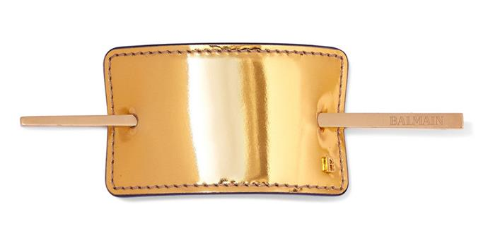 """If you're after a subtle statement this Balmain supple gold leather hair clip will add runway-worthy interest to simple up-dos. <br><br> Balmain hair clip, $384.71 at [Net-a-Porter](https://www.net-a-porter.com/au/en/product/1122317/balmain_paris_hair_couture/gold-tone-metallic-leather-hairclip