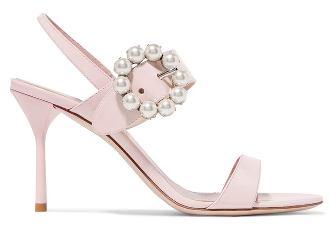 """Give your prints a sweet retro update with Miu Miu's embellished slingbacks. In a neutral hue, these pastel pink sandals will become a racing-season staple.  <br><br> Miu Miu sandals, $1,550 at [Net-a-Porter](https://www.net-a-porter.com/au/en/product/1065050/Miu_Miu/faux-pearl-embellished-patent-leather-slingback-sandals