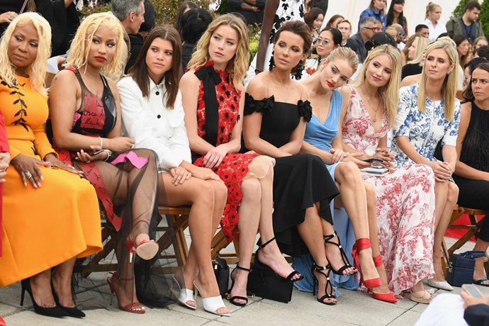 Carol Maraj, Nicki Minaj, Sofia Richie, Amber Heard, Kate Beckinsale, Rosie Huntington-Whiteley, Dianna Agron and Nicky Hilton Rothschild at Oscar De La Renta