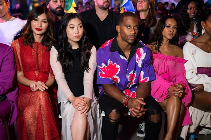 Gemma Chan, Awkwafina, Victor Ctuz and Karrueche Tran at Prabal Gurung