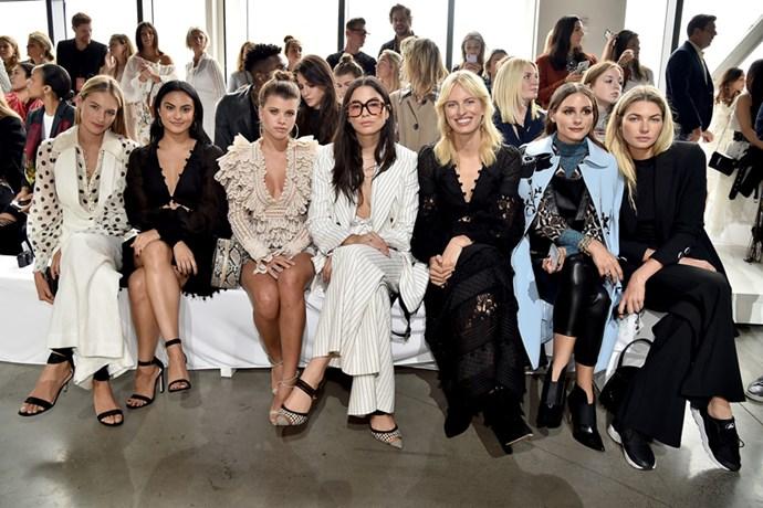 Sanne Vloet, Camila Mendes, Sophia Richie, Jessica Gomes, Karolína Kurková, Olivia Palermo and Jessica Hart at Zimmermann