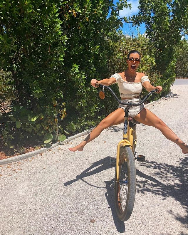 "**EXERCISE** <br> Kourtney also makes sure to fit in workouts when on holiday or not working, pictured here bike-riding on holiday in the Caribbean islands of Turks & Caicos.  <br><br> *Image: [@kourtneykardash](https://www.instagram.com/p/BhUG9jzDRVD/?taken-by=kourtneykardash|target=""_blank"")*"