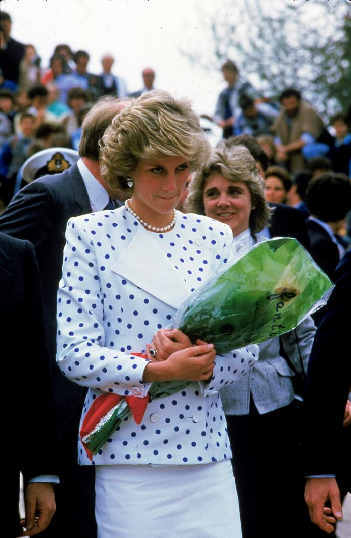 In Venice during a royal tour of Italy with Prince Charles on May 4, 1985