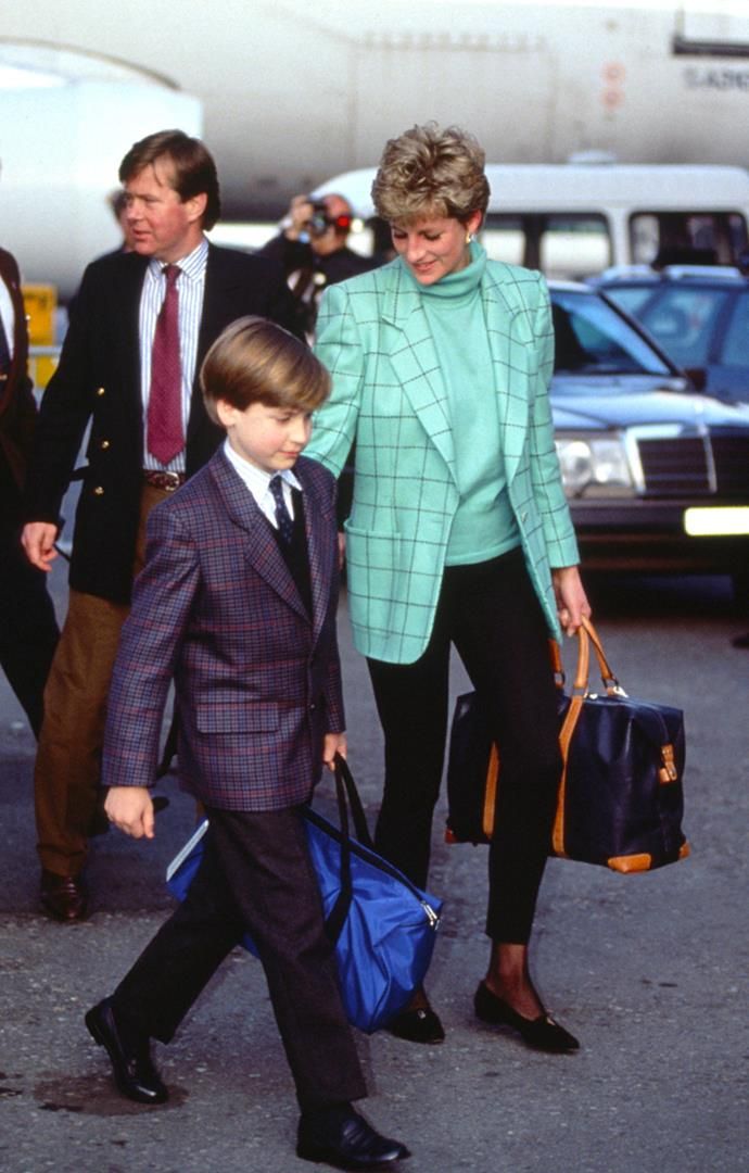 With Prince William at Zurich Airport in Austria on March 26, 1993