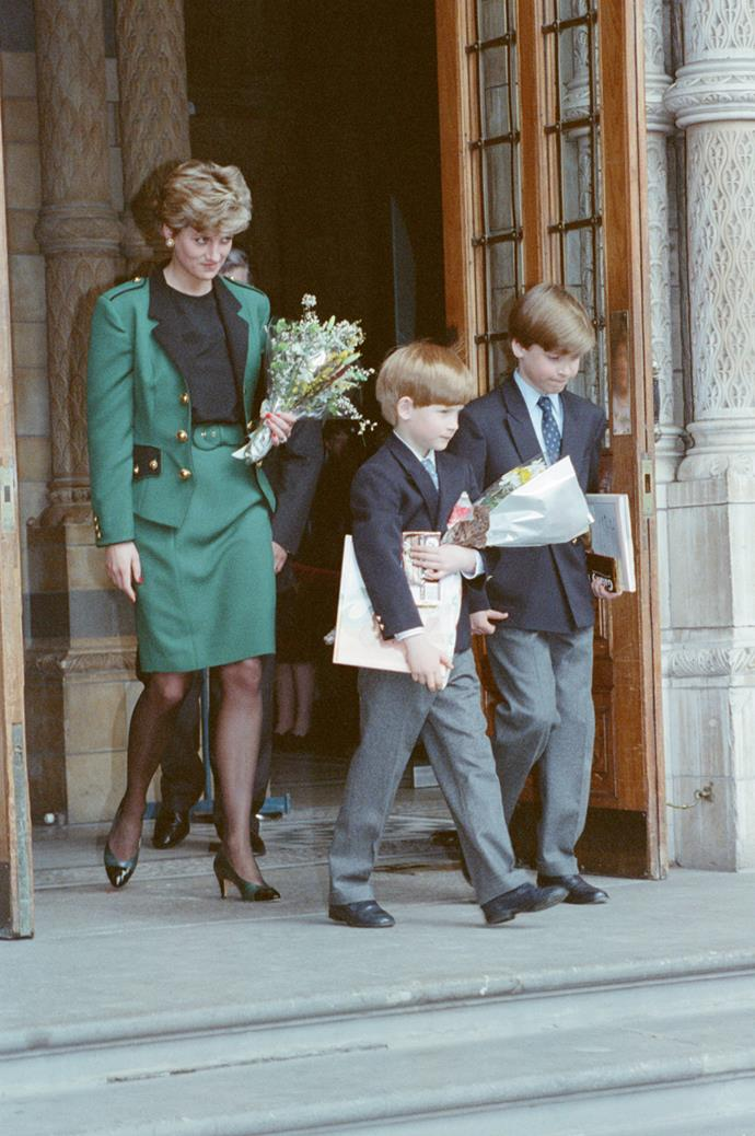 With Prince William and Prince Harry at The National History Museum in London on April 13, 1992