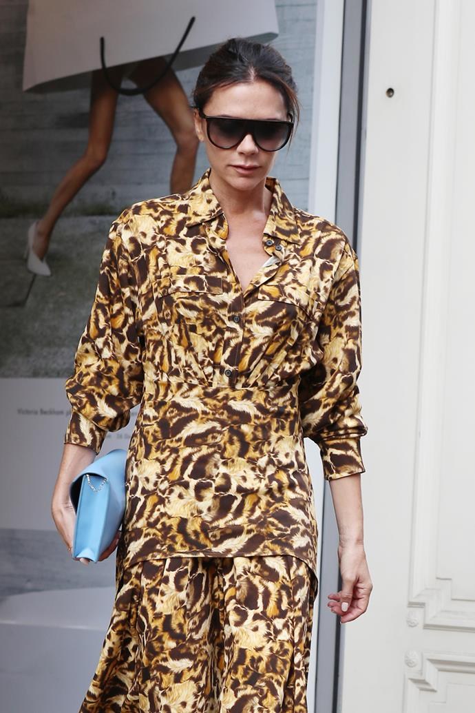 Victoria Beckham at London Fashion Week on September 18, 2018