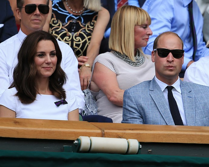 Catherine, Duchess of Cambridge and Prince William at Wimbledon in July 2017, before announcing Catherine's pregnancy with Prince Louis.