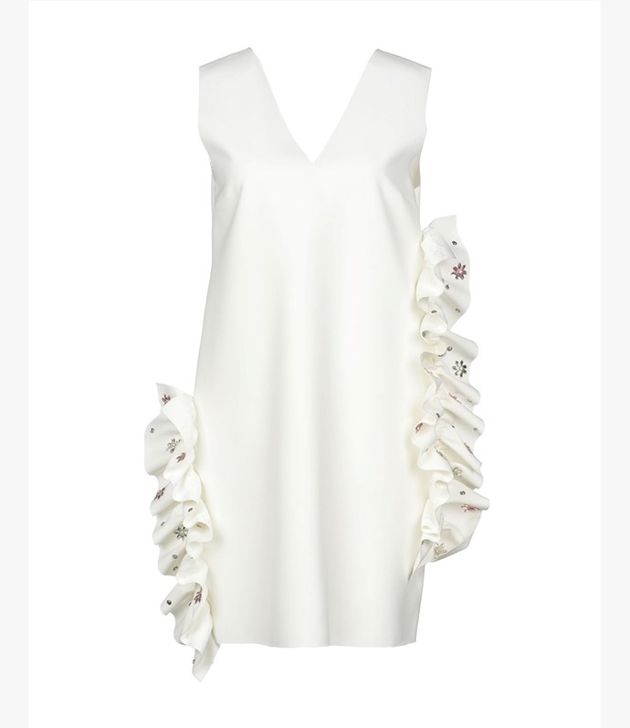 "MSGM dress, approx $384.11 at [YOOX](https://www.yoox.com/au/34853723BE/item#dept=women&sts=sr_women80&cod10=34853723BE&sizeId=&sizeName=&tp=171240&utm_campaign=SpringRacing_HBOct18&utm_source=HarpersBazaar_AU&utm_medium=vertical&utm_content=SpringRacing_HBOct18|target=""_blank""