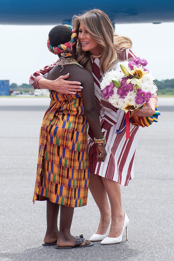 Melania Trump wears Celine while disembarking in Ghana, October 2 2018.
