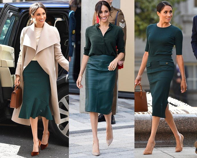 ***Green pencil skirts***<Br> From Greta Constantine to Hugo Boss, from leather to silk, Meghan has stepped out in a deep green pencil skirt no less than three times in as many months.