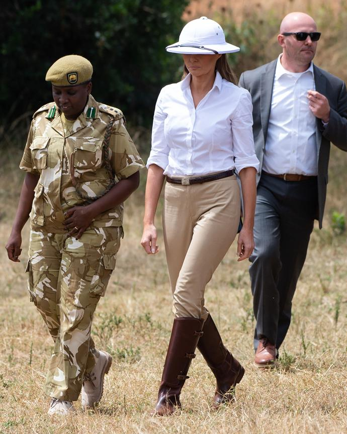 "**FOURTH MOST CONTROVERSIAL: OCTOBER 2018** <br><br> Amidst a tumultuous time for her husband's administration, the First Lady departed to Africa on her first solo overseas trip. During a safari outing, her choice of a 'pith' helmet—an item of clothing with a dark colonial history in Africa—was seen to be controversial and insensitive.  <br><br> The First Lady [addressed](https://www.harpersbazaar.com.au/fashion/melania-trump-pith-helmet-response-17463|target=""_blank"") the focus on her wardrobe throughout her trip, saying ""I want to talk about my trip and not what I wear."""