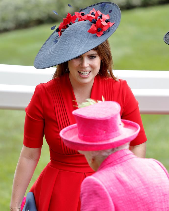 "***While it's Princess Eugenie's day, the queen must always be honoured*** <br><br> As the serving monarch, Queen Elizabeth's attendance overrules any other guest. And while it's Eugenie's day, we still expect Queen Elizabeth to assert her dominance—whether that be through expecting members of the congregation to stand upon her entry, or famously [shifting her bag to her left arm](https://www.harpersbazaar.com.au/culture/rules-the-royal-family-has-to-follow-14157|target=""_blank"") to signal that conversation should end."