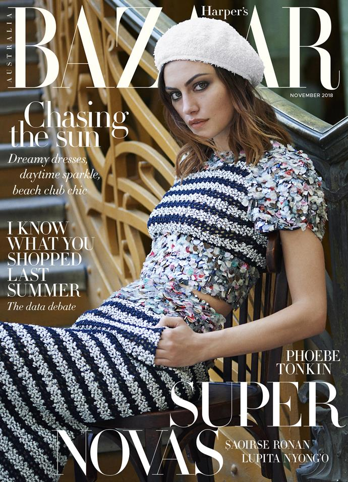 Phoebe Tonkin for *Harper's BAZAAR Australia*—Photographed by Éric Guillemain, styled by Naomi Smith, hair by Mike Desir at B Agency; makeup by Victoria Baron for Chanel.