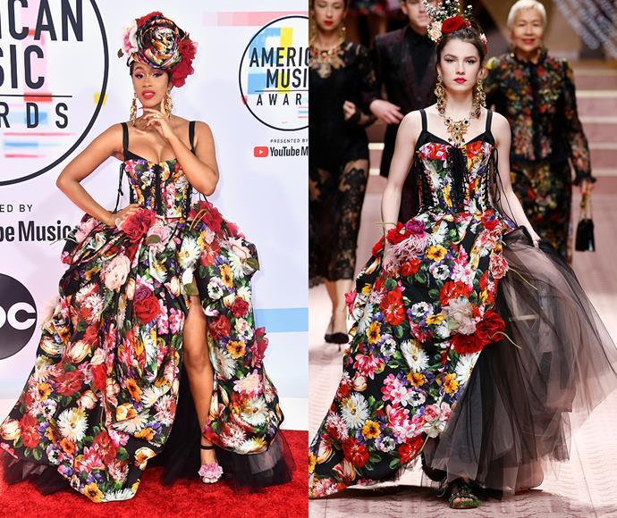 Cardi B in Dolce & Gabbana spring/summer '19.