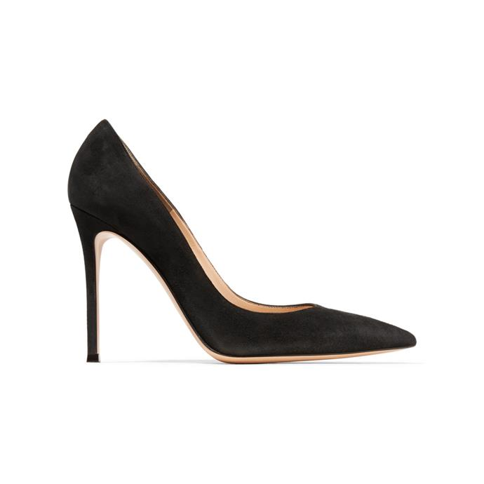 "***A black pump you can wear to work (and actually walk in)***<br><br> '105' pump by Gianvito Rossi, $960 at [NET-A-PORTER](https://www.net-a-porter.com/au/en/product/535955/gianvito_rossi/105-suede-pumps|target=""_blank""