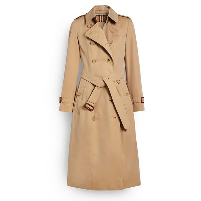 "***A well-fitting trench coat***<br><br> Long Chelsea Heritage trench coat, $3,150 at [Burberry](https://au.burberry.com/the-long-chelsea-heritage-trench-coat-p40733771|target=""_blank""