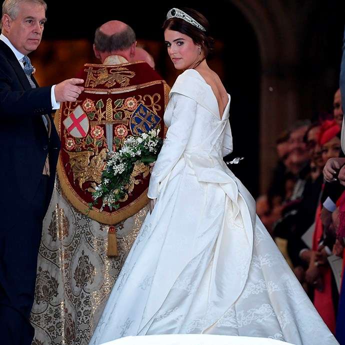 Princess Eugenie in Peter Pilotto at her wedding at St. George's Chapel.