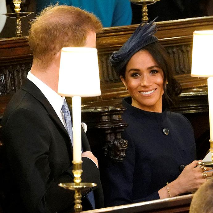 Meghan, Duchess of Sussex at St. George's Chapel for Princess Eugenie's wedding.