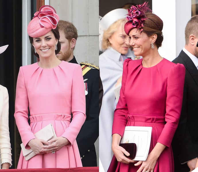 At the wedding of her cousin-in-law, Princess Eugenie, Kate had Sarah Burton remake this pleated dress—first worn at the 2017 Trooping the Colour—in a deep raspberry shade. For the remake, Kate added a puffed detail on the shoulders and a shorter sleeve.