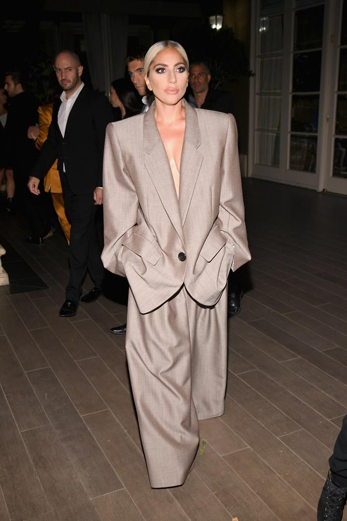 The singer chose a menswear-inspired Marc Jacobs oversized suit to wear to ELLE's annual 'Women in Hollywood' Celebration.
