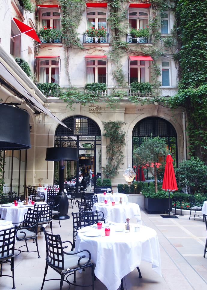 ***Plaza Athénée Terrace Restaurant (La Cour Jardin)***<br><br>  A gorgeous spot for an alfresco garden lunch during summer. In winter the space is converted into an ice rink!