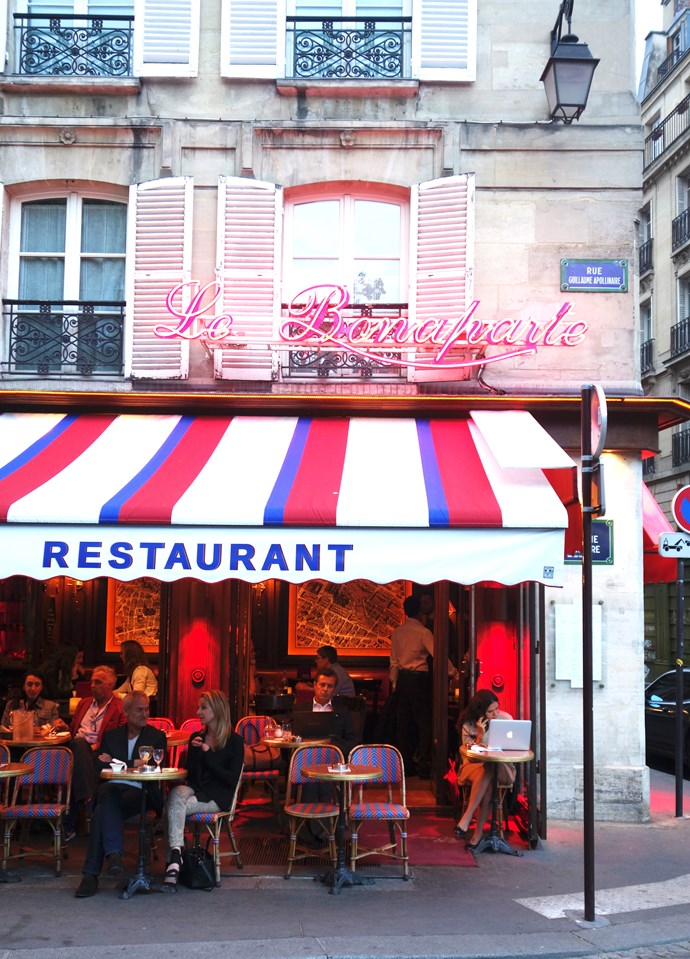 ***Le Bonaparte***<br><br>  One of the loveliest local spots in St Germain to people watch. The blue and red awning really makes it feel like the iconic Paris we all know and love…