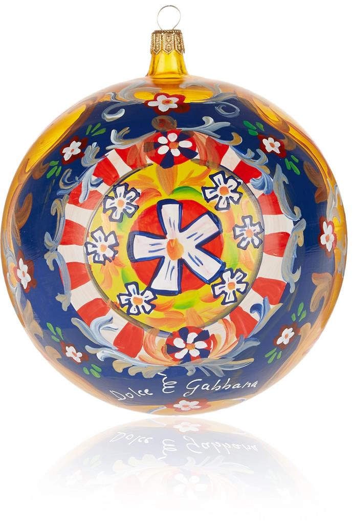 "Ornament by Dolce & Gabbana, $365 at [Net-a-Porter](https://www.net-a-porter.com/au/en/product/642634/Dolce_and_Gabbana/painted-glass-bauble|target=""_blank""