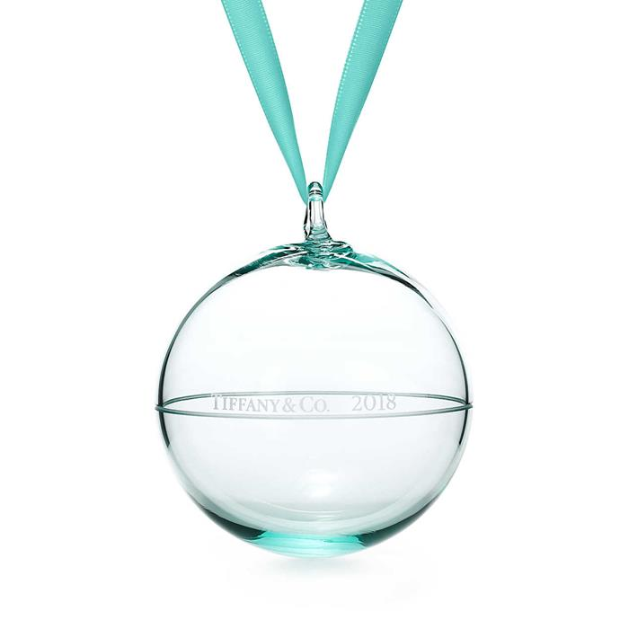 """Ornament, $105 at [Tiffany & Co.](https://www.tiffany.com.au/gifts/etching/ball-ornament-62204753