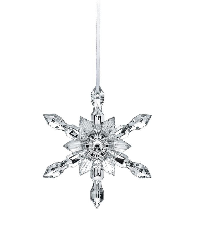 """Silver snowflake Christmas ornament by Baccarat, $210 at [Horchow](https://www.horchow.com/Baccarat-Silver-Snowflake-Christmas-Ornament-/cprod142260005_cat29800743__/p.prod